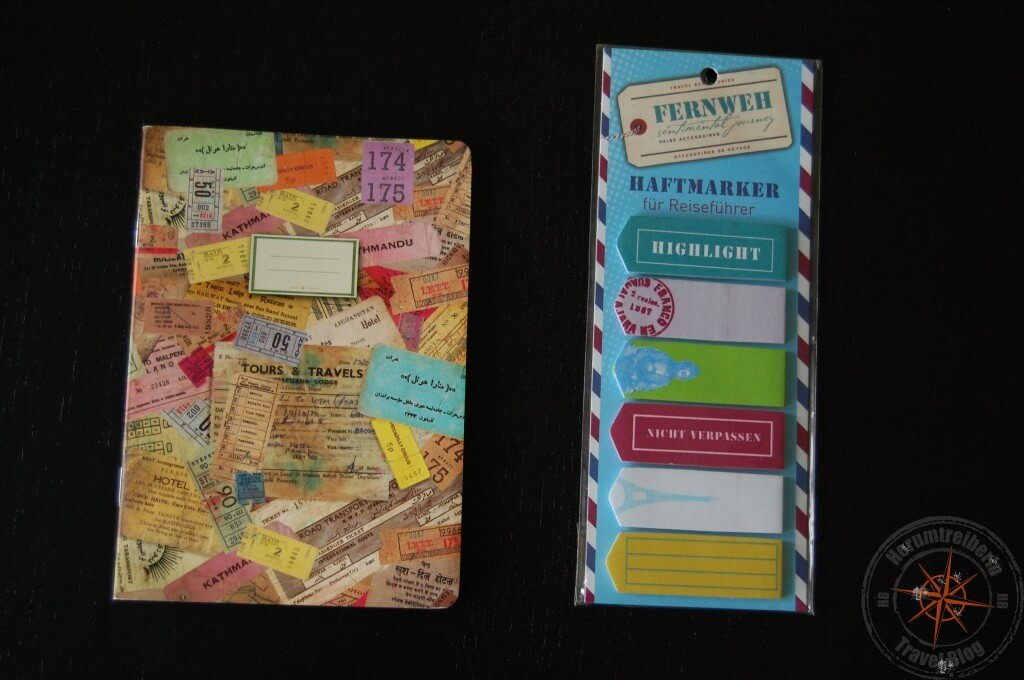 Travel notebook and post its