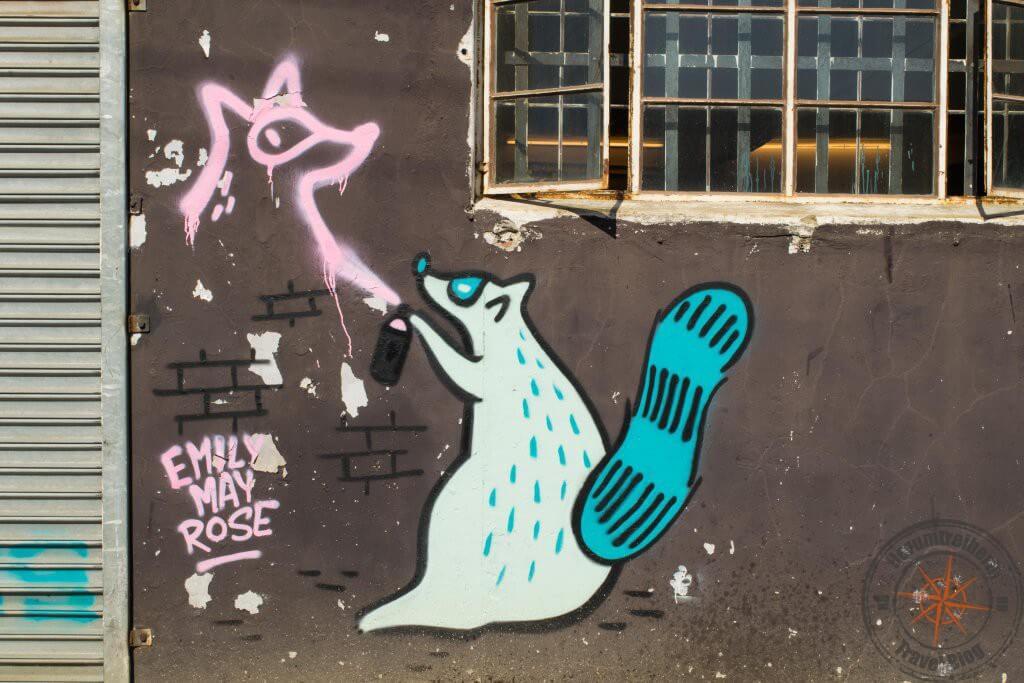 Street Art Tour Woodstock, Kapstadt - Graffiti von einem frechen Waschbären, der mit einer Spraydose einen stilisierten Waschbären an die Wand sprüht